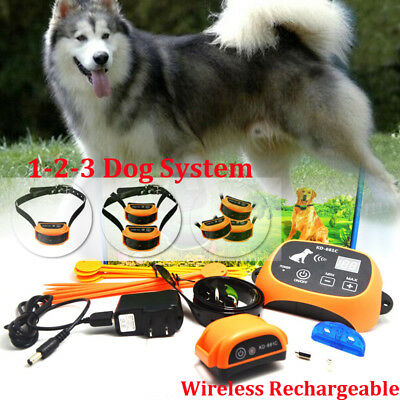 Wireless Rechargeable Dog Fence NoWire Pet Containment System Waterproof 4colors