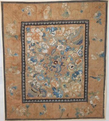 Fine Chinese 19th Century Embroidered Panel, Flowers Urns, Forbidden knot