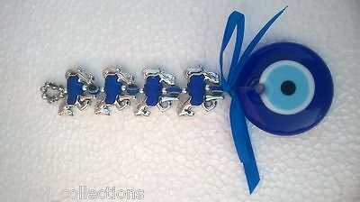 Indian Evil Eye With Blue Big Glass Eye,tied Along Horses With Chrome Plating