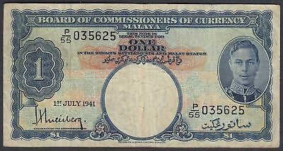 Malaya: 1 Dollar 1.7.1941 - Board of Commissioners of Currency (P-11 / B112a)