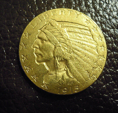 USA 5 Dollar Gold 1915  Indianer / Indian Head Top