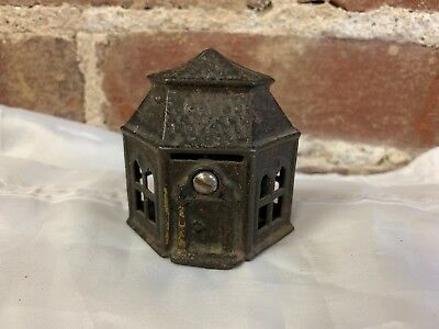 Vintage Six Sided Building Cast Iron Bank