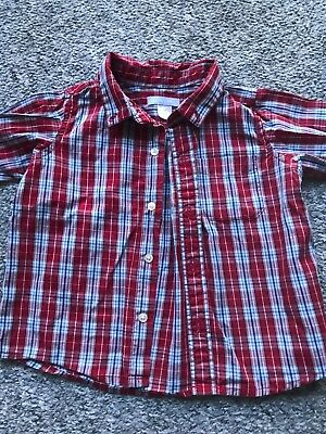 Baby Boy Lands End Red Checked Shirt 18 Months