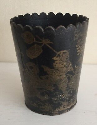 Vintage Oriental Chinoiserie Papermache Black/gold Toothpick Beeker Or Cup