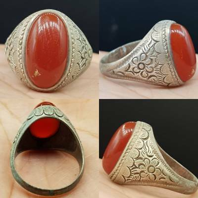 Wonderful Old Antique Agate stone Silver Lovely Ring   # 4z