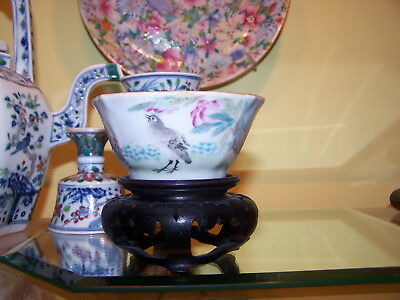 Chinese Qing Famille Rose Lobed Footed Bowl & POEM &  SEAL MARK