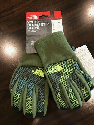 The North Face Youth Boys Denali Etip Gloves Green Camo NWT