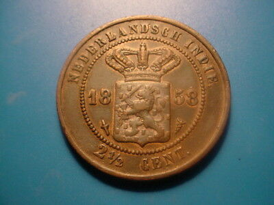 Netherlands East Indies 1858 2-1/2-Cent In Very Nice Condition