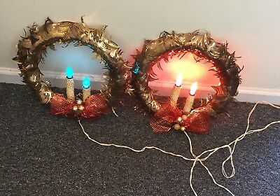 Pair of Mid Century Mirostar Electric Candle Wreaths