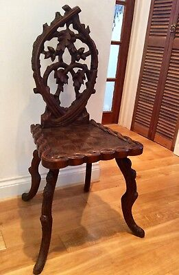 Rare Linden Wood Black Forrest Carved Wood Hall Chair circa 1870