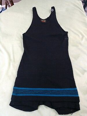 Antique Jantzen wool swimsuit Blue trim