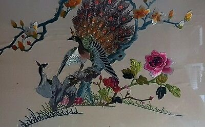 Vintage Chinese Silk Embroidery~Birds & Flowers~Character mark