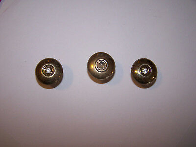 Lovely !!! Set Of 3 Round Brass Draw Pulls, With Crystal In Center !!!   Wow !!!