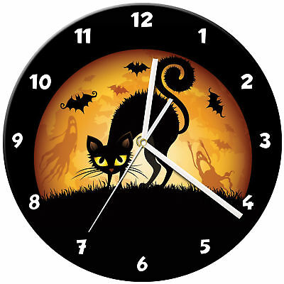 Halloween Glass Wall Clock Learn Gift Bedroom Gaming Kids - 01