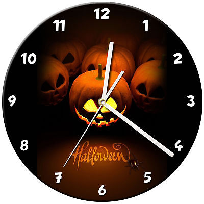 Halloween Glass Wall Clock Learn Gift Bedroom Gaming Kids - 06