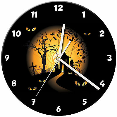 Halloween Glass Wall Clock Learn Gift Bedroom Gaming Kids - 08
