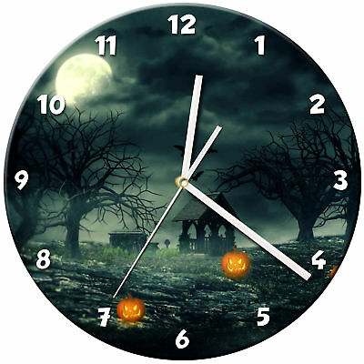 Halloween Glass Wall Clock Learn Gift Bedroom Gaming Kids - 09