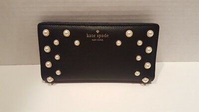 9524fac30290 KATE SPADE PEARL Stacy Serrano Place Wallet NWT Black Leather with ...