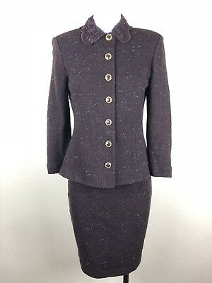St John Collection by Marie Gray Size 2 Skirt Suit Tweed Blazer Brown Padded