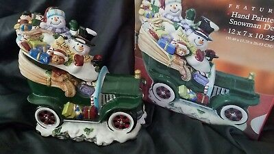 Snowman Antique Car Christmas Holiday Cookie Jar 2004 Tomsky Ltd. Collectible