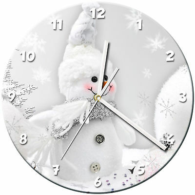 Snowman Christmas Glass Wall Clock Learn Gift Bedroom Gaming Kids - 07