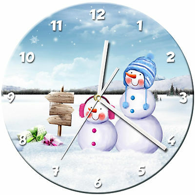 Snowman Christmas Glass Wall Clock Learn Gift Bedroom Gaming Kids - 08