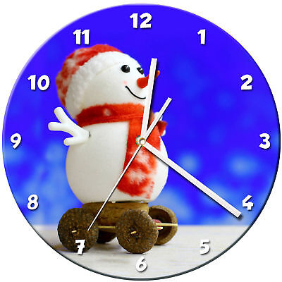 Snowman Christmas Glass Wall Clock Learn Gift Bedroom Gaming Kids - 14