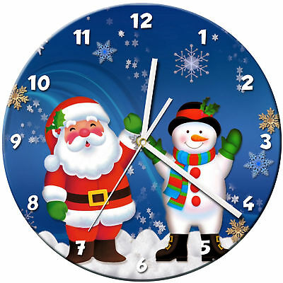 Snowman Christmas Glass Wall Clock Learn Gift Bedroom Gaming Kids - 09