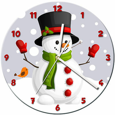 Snowman Christmas Glass Wall Clock Learn Gift Bedroom Gaming Kids - 15
