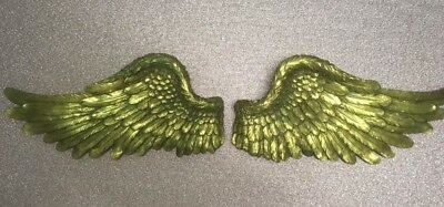 NEW Pair of Large Vintage Shabby Chic Gold Angel / Cherub Wings~Wall Display