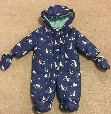 Girls John Lewis Winter Bunny Pramsuit Padded Hooded Thick Coat Age 3-6 Months