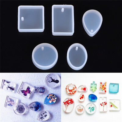 5pcs Silicone Mould Set Craft Mold For Resin Necklace jewelry Pendant Making _O