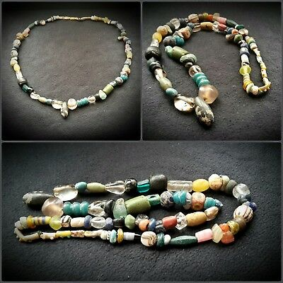 GREEK GLASS AND MINERAL BEADS 0N STRING 1st MILLENNIUM B.C. AND LATER