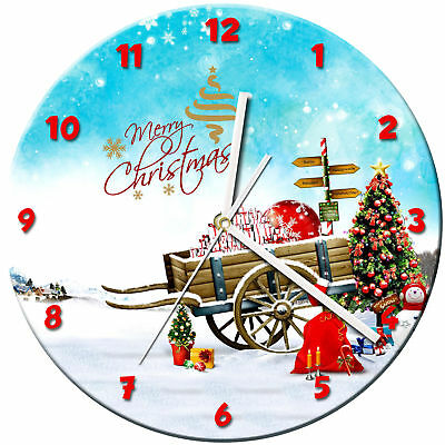 Christmas Xmas Glass Wall Clock Learn Gift Bedroom Gaming Kids - 01