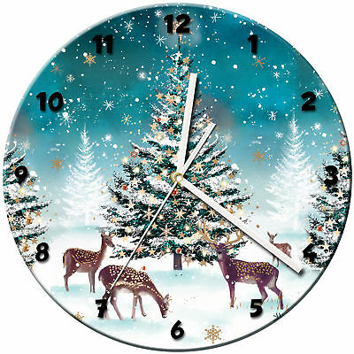 Christmas Xmas Glass Wall Clock Learn Gift Bedroom Gaming Kids - 12