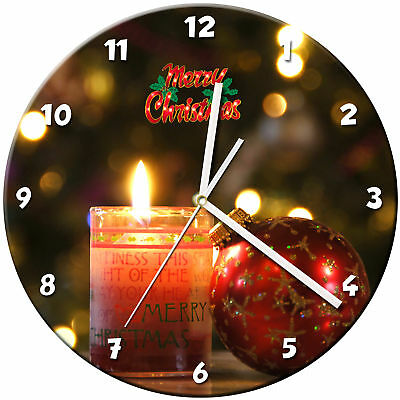 Christmas Xmas Glass Wall Clock Learn Gift Bedroom Gaming Kids - 03