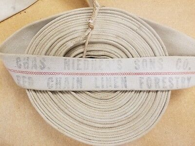 Fire Hose w Nozzle 100ft 1957 Forestry Chas Niedner & Son Co Red Chain Linen 2.5