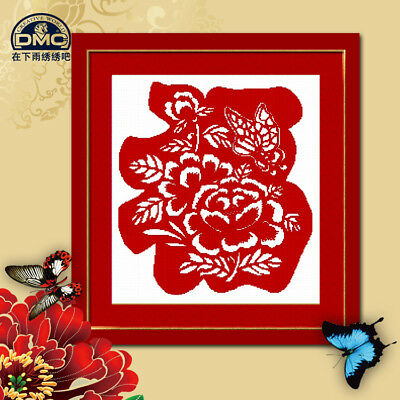 Chinese character FU finished cross stitch fortune good luck peony butterfly CNY
