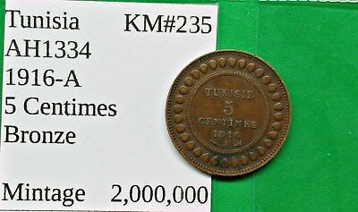 World Foreign Old Tunisia 5 Centimes 1916-A Coin AH1326 KM#235 !!