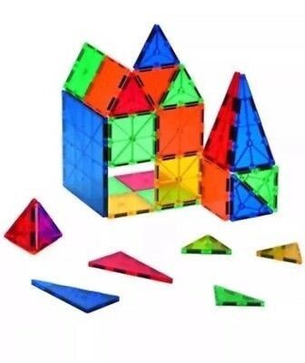 NEW Kids 60pcs Magnetic Tiles Clear 3D Building Blocks MagPlasma in Tote (EE)