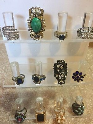 Lot of Rings Vintage and Fashion 12 Assorted Sizes Styles Designs Estate Finds!!
