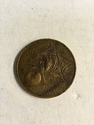 Vintage Good Luck Coin With Swastika In Crystal Ball With Swami