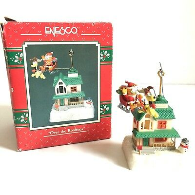 Vintage Enesco 1978 Over The Rooftops Garfield Christmas Ornament