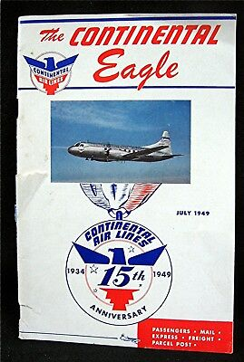 1949 The Continental Eagle Continental Air Lines 15 Year Anniversay Booklet