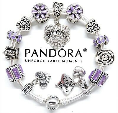 "Authentic Pandora Bracelet Silver Bangle ""My Girl"" & Love Story European Charms."