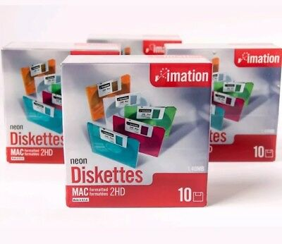 """Imation Neon MAC Formatted 2 HD 1.4 MB 3.5"""" Diskettes 10 4 Boxes New"""