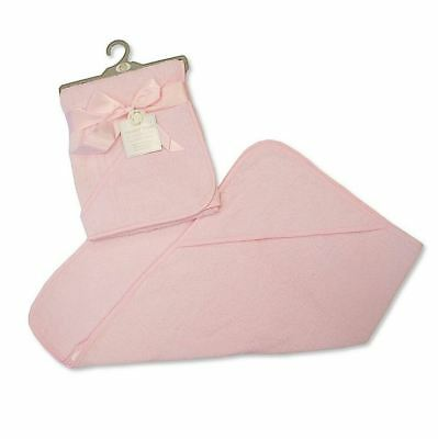 Soft Plain Pink Baby Hooded Bath Time Towel 100% Cotton 75x75cm Baby Shower Gift