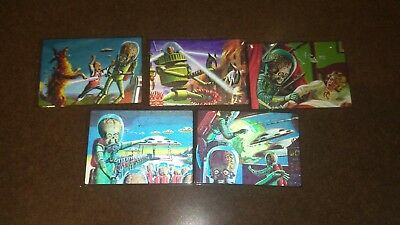 Mars Attacks Heritage Complete 5 Card 3D Lenticular Set