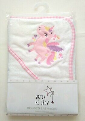 White Pink Unicorn Baby Hooded Towel Wrap Bath Time 70x70cm Baby Shower Gift