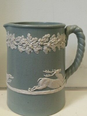 Antique Victorian Jasperware Green Jasperware Jug Greyhound Dog's Hunting a Stag